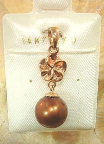 9.5 mm Hawaiian 14k or Plumeria Cultured Freshwater Chocolat Perle Pendentif