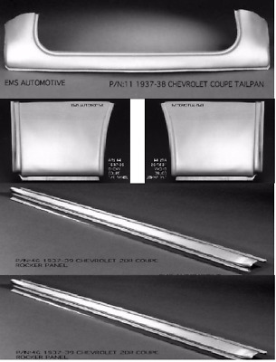 Chevrolet Chevy Coupe Tailpan Tail / Roll Pan Rocker Quarter Kit 1937-1938 EMS