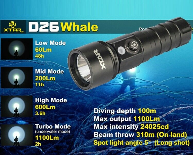 XTAR D26 Whale 1100 Lumens XM-L2 U3 LED Diving Flashlight Tauchen Taschenlampe