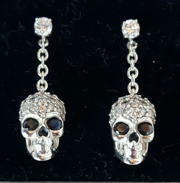Ohrringe Rebeligion True Silver neu. 925er Silber mit Zirkonia Totenkopf