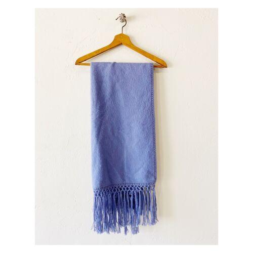 Peruvian Alpaca Wool Blanket Scarf Pashmina Blue F