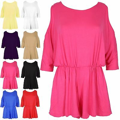 Sinnvoll Womens 3/4 Sleeve Playsuit Cutout Shoulder Batwing Ladies Jumpsuit All In One