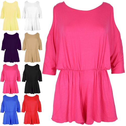 Womens 3//4 Sleeve Playsuit Cutout Shoulder Batwing Ladies Jumpsuit All in One