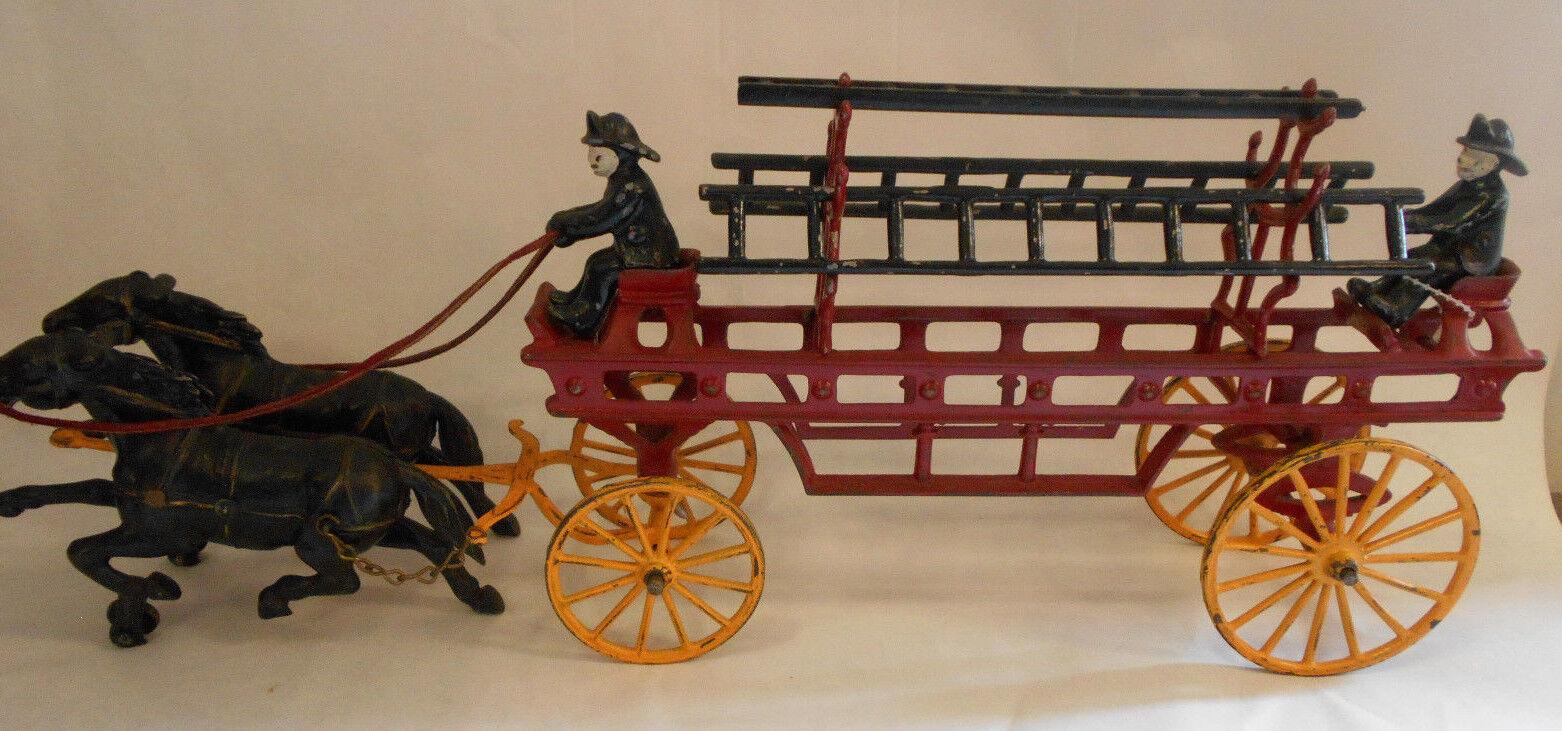 19 hierro fundido en Kenton fuego Hook & escalera dos caballos dibujado Vagón dos bomberos Orig