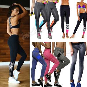 Mujer-Ejercicio-Leggings-Atletismo-Yoga-Deportes-Elastico-Pantalones-camiseta