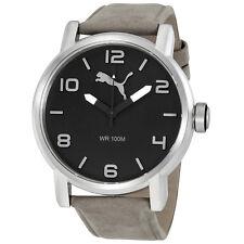 Puma Alternative Round Grey Dial Grey Leather Mens Watch PU104141005U