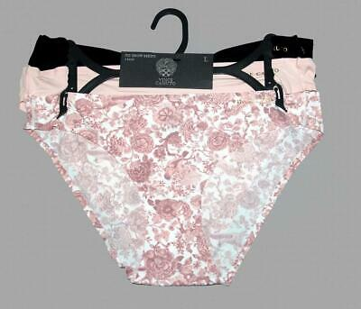 3 Vince Camuto Black Pink Floral Solids No Show Bikini Panties Wms NWT $36