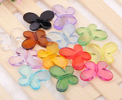 50pcs/100pcs Assorted Color Clear Acrylic Butterfly Shaped Interval Beads Charms