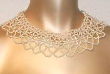 Halsband Perlenkragen Perlen Kragen Collier champagnerfarben NEU NEU
