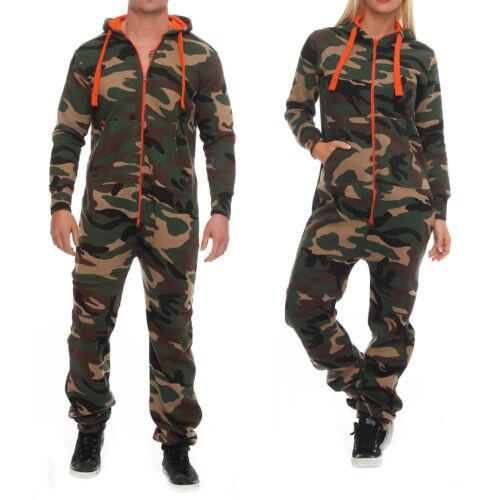 Hype Inc Unisex Women/'s Men/'s Jumpsuit Overall Camo Orange Zipper