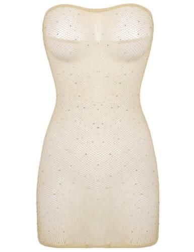 Women/'s See Through Sheer Mesh Mini Dress Tube Top Bodycon  Night Party Clubwear