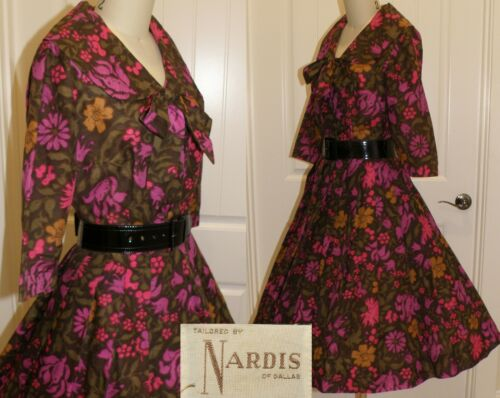 """VINTAGE 1950'S DAY DRESS by """"NARDIS"""", M/L, BUST 3… - image 1"""