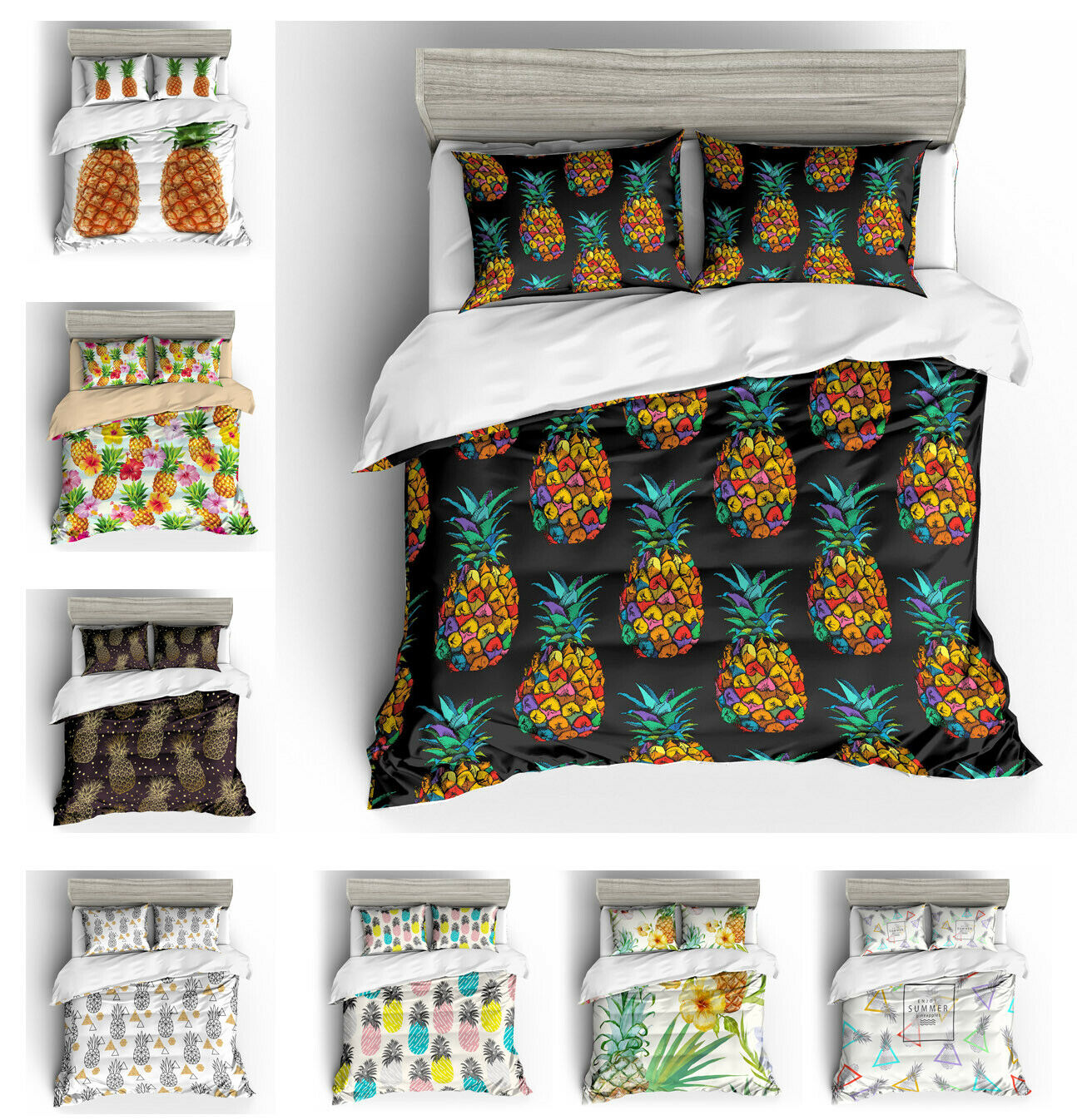 Tropical Plant Flower Pineapple Bedding Duvet Cover Set+Pillow Case US AU EU