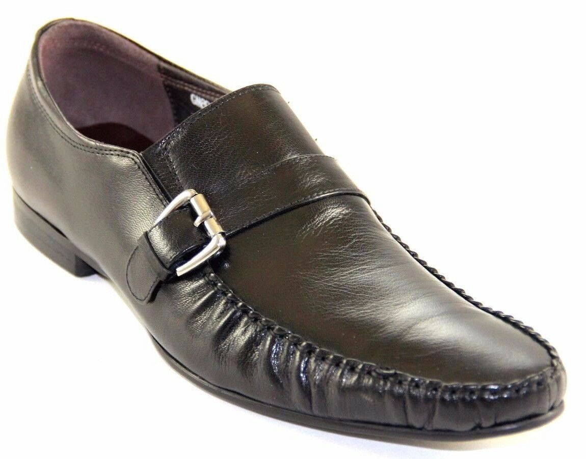 ZOTA UNIQUE herren SLIP ON schwarz LEATHER DRESS schuhe GM892-81