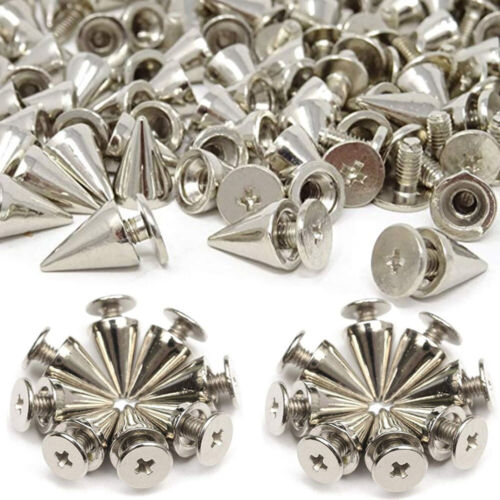 200Pc 10mm Silver Spots Cone Screw Metal Studs Leather craft Rivet Bullet Spikes
