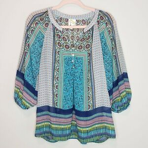 Fig-and-Flower-Boho-Top-Anthropologie-Peasant-Chiffon-Blouse-Shirt-Sheer-Small