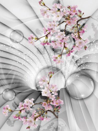 Fototapete Tapete Wandbild F05838 Paper Blue back 3D Tunnel mit Blumen