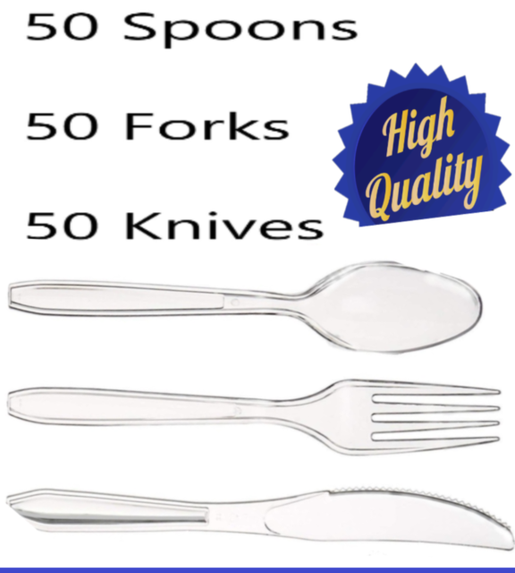 50 Heavy Duty Clear Transparent Spoons Strong Disposable Cutlery Party Wedding