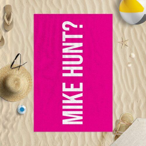 """58x39/"""" Mike Hunt Six Couleurs Disponibles En Microfibre Serviette De Plage Drôle Blague Cadeau"""