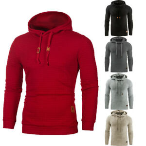 Men-Plaid-Simple-Style-Long-Sleeve-Solid-Color-Casual-Hooded-Pullover-Sweatshirt