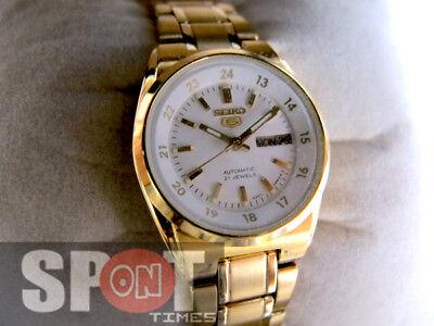 Seiko 5 Automatic 21 Jewels White Dial Gold Tone Ladies Watch Symj40k1 Ebay