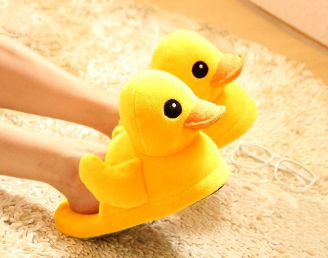 1 Pair Yellow Duck Plush Cotton Slippers Household Shoes Christmas Gifts New