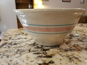 "Vintage 10"" McCoy Mixing Bowl Pink Blue Stripe Stoneware USA"