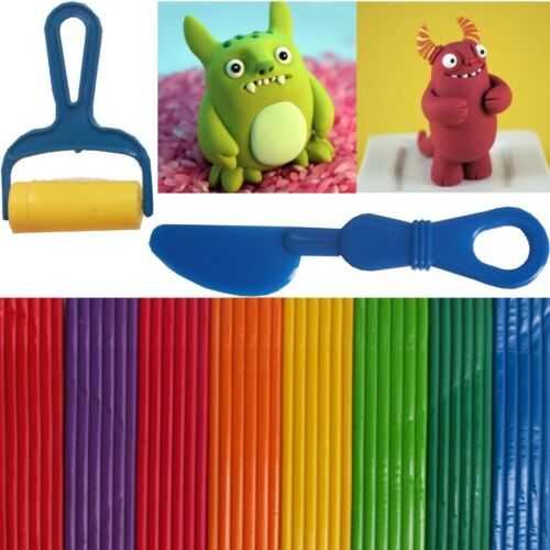 8X COLOURED PLASTICINES CUTTER ROLLER KIT Modelling Soft Clay Strips Play Doh