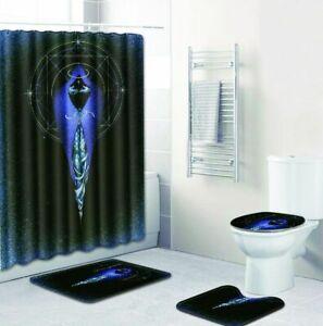 4Pcs-Bathroom-Contour-Rug-Shower-Curtain-Non-Slip-Toilet-Lid-Cover-Bath-Mat-Set