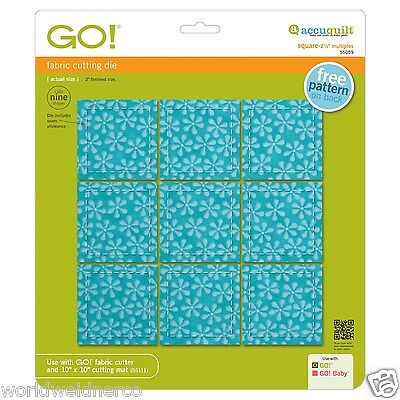 "AccuQuilt GO! Square-2 1/2"" (2"" Finished) Multiples Fabric Cutting Die 55059 Sew"