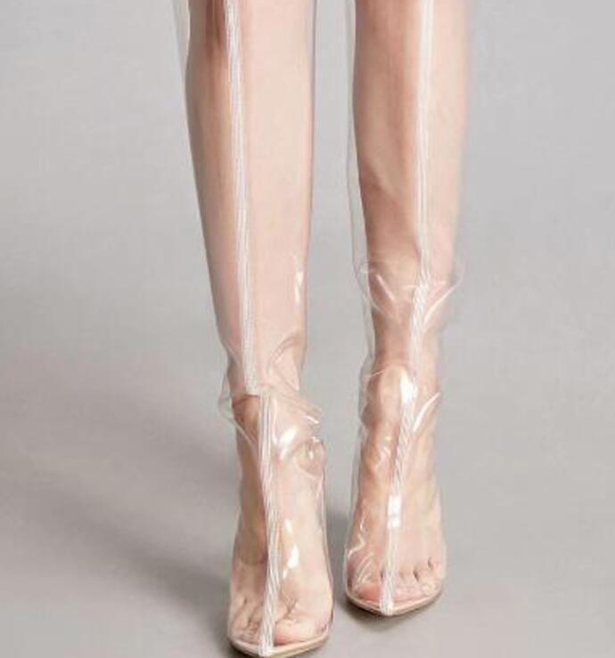 Overknee hoch schenkelhoch Stiefel Kristall transparent klar hoher Absatz