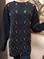 Liz Claiborne Collection Pullover 'night Moods' Beaded Lambs Wool Mix Sweater L