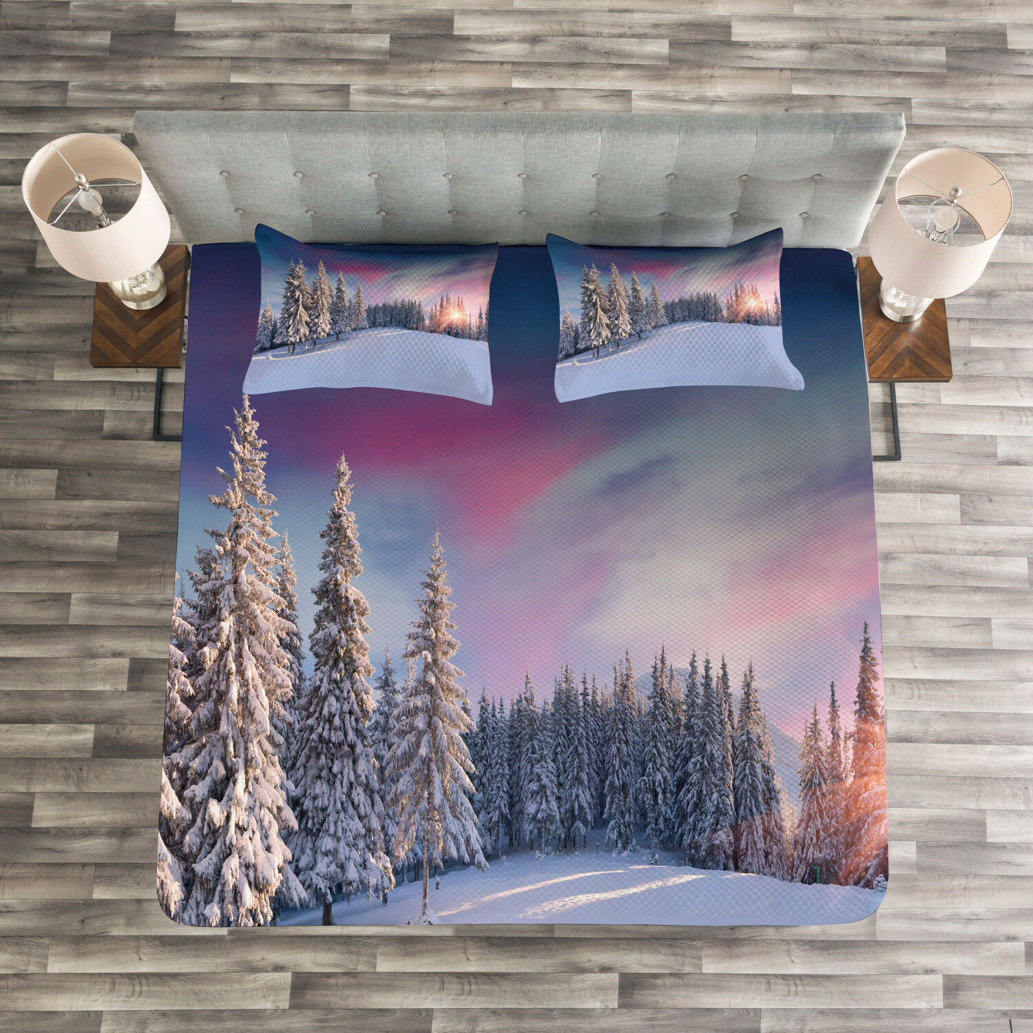 Winter Quilted Bedspread & Pillow Shams Set, Idyllic Serene Panorama Print