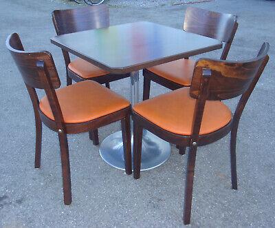 Hochw Fa. MAY Bistro Sitzgruppe Gastro Edelholz Tisch 4 Leder Stühle Restaurant | eBay