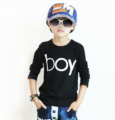 Fashion Stylish Kids Toddlers Boys BOY Letter Front 100% Cotton Tops T-Shirt New