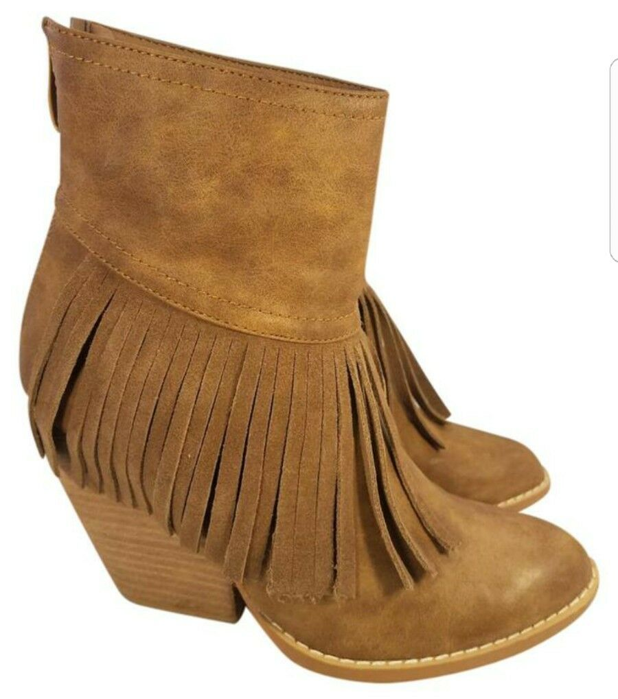 SIZE 7 ~ VERY VOLATILE ~ WOMAN LEATHER BACK ANKLE BOOTS FRINGES W/ BACK LEATHER ZIPPER BROWN 2c6f24