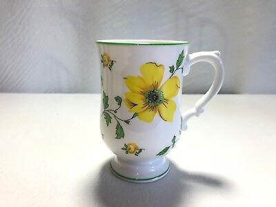 ROYAL VICTORIA BONE CHINA MUG W// YELLOW DOGWOOD FLOWERS ENGLAND COFFEE CUP