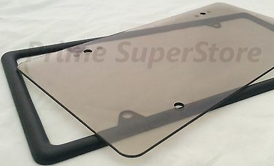 Slim Plain Black Metal License Plate Frame Holder & Flat Smoke Tinted Tag Cover