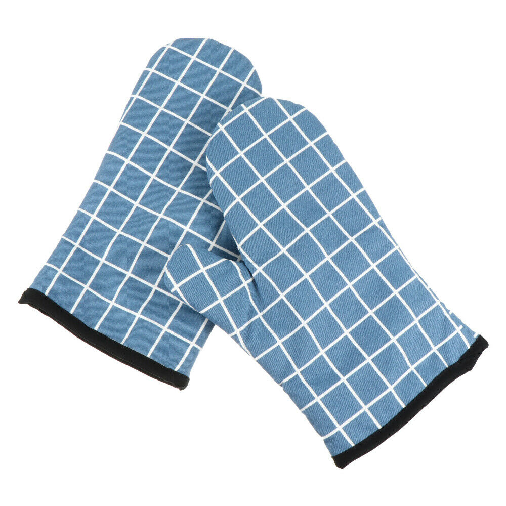 1 Pair Protective Baking Cotton Oven Mitts Practical Grid Pattern