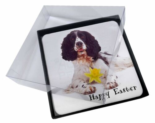 4x 'Happy Easter' Springer Spaniel Picture Table Coasters Set in Gif, ADSS8DA1C