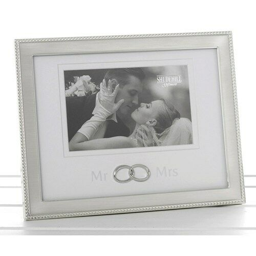 Mr /& Mrs Brushed Silver Beaded Edged Wedding Ring Photo Frame 60064 Married Gift