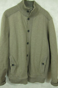 NEW-Ted-Baker-London-Mens-Heavy-Cotton-Oatmeal-Cardigan-Sweater-Zip-Buttons-2XL