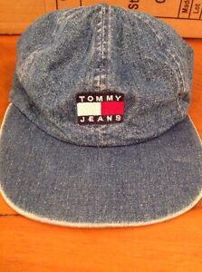c74d4271c5b Vintage 90 s Tommy Jeans Denim Strap Back Hat Adjustable Cap Flag ...