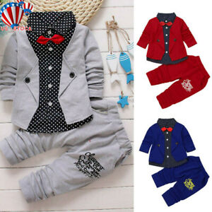 Kid-Baby-Boy-Gentry-Clothes-Formal-Party-Christening-Wedding-Tuxedo-Bow-Suit-US