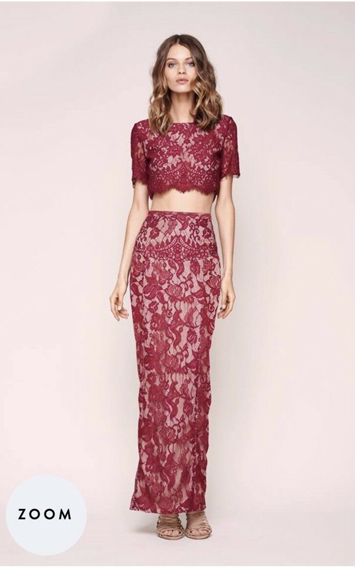 NWT The Jetset Diaries Lace Yasmine Long Slit Maxi Berry Skirt XS