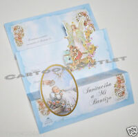 10 Pc Baptism Invitations Spanish Invitaciones Mi Bautizo Angel Blue