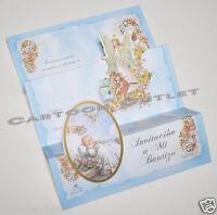 10 Pc Baptism Invitations Spanish Invitaciones Mi Bautizo Angel Blue