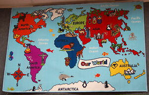 Kids Map Of The World Play Mat 100x150 Childrens Rug Atlas Pictures