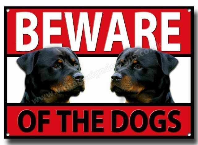 A3 ROTTWEILER BEWARE OF THE DOGS METAL SIGN,SECURITY,WARNING,GUARD DOG SIGN