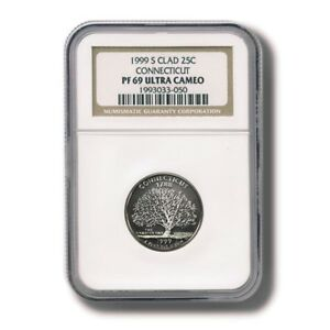 1999 S State Quarter Connecticut 90/% Silver  Proof Ultra Cameo NGC PF 69